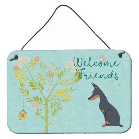 Welcome Friends Doberman Pinscher Wall or Door Hanging Prints BB7586DS812