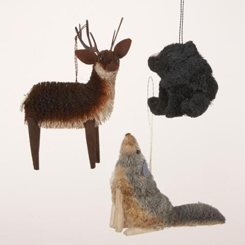 Pack of 12 In the Birches Deer, Black Bear & Wolf Christmas Figure Ornaments 5""
