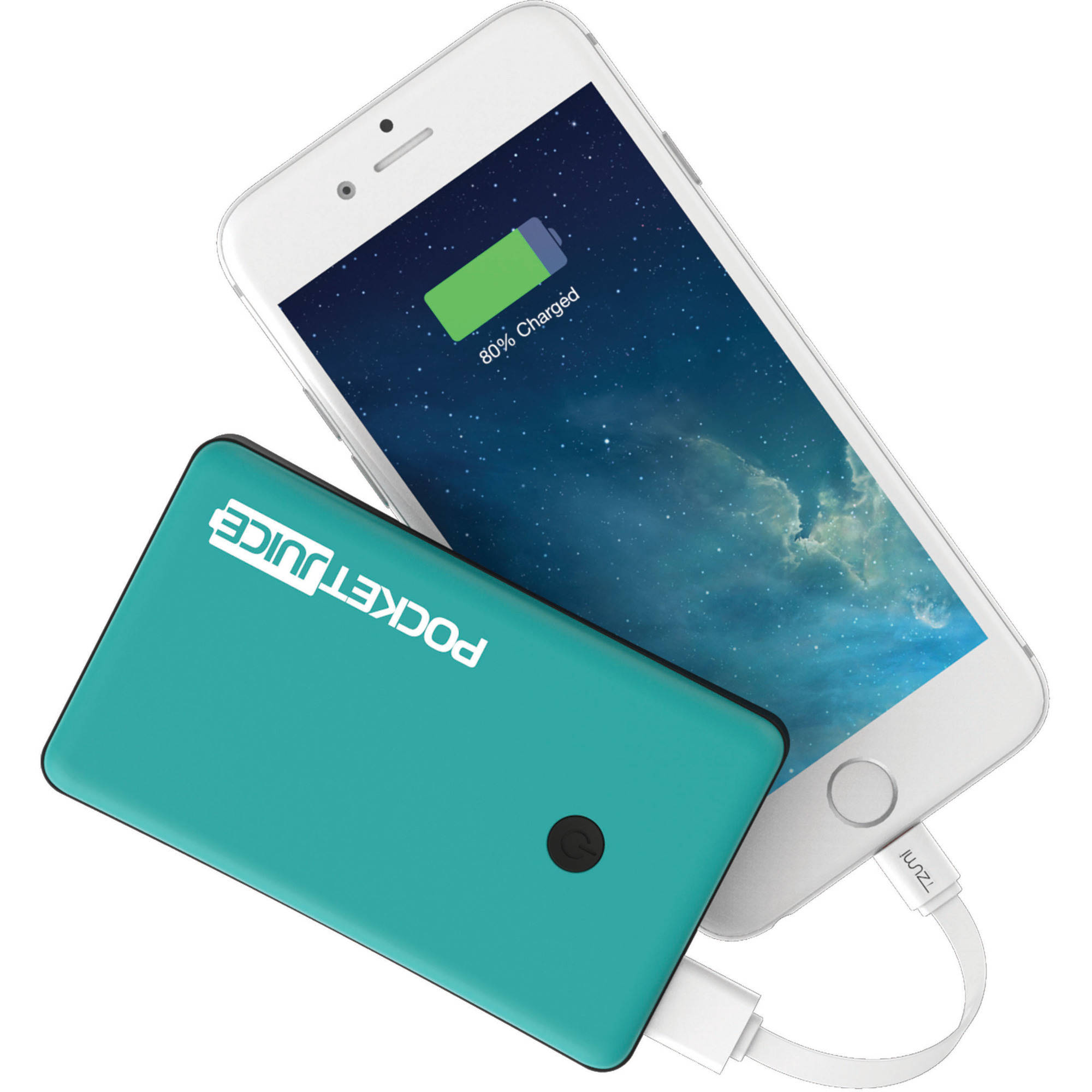 Tzumi Pocket Juice Slim 4,000mAh Solo Portable Charger, Teal
