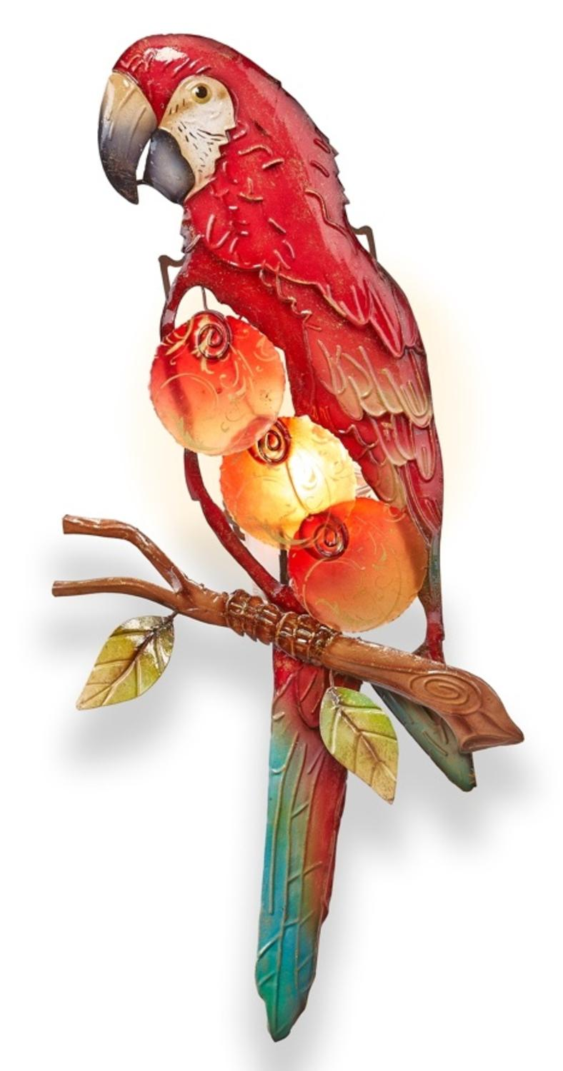 "16.5"" Red and Gold Capiz Shell Parrot Tealight Candle Holder Wall Sconce by CC Home Furnishings"