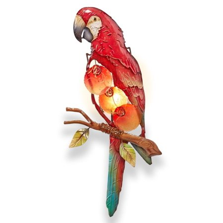 """16.5"""" Red and Gold Capiz Shell Parrot Tealight Candle Holder Wall Sconce"""