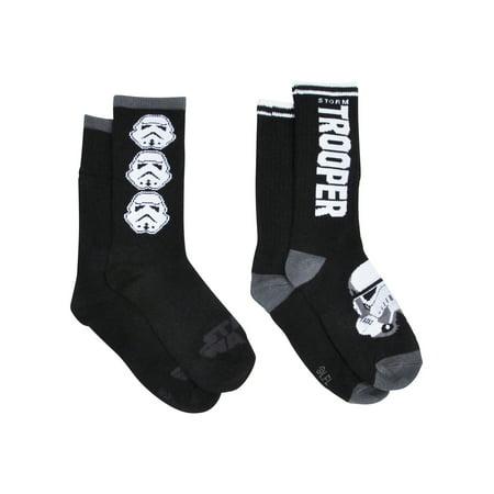 a60204b6d1b Star Wars - Boys Stormtrooper Crew Socks Black 2-PAIRS Trooper Print -  Walmart.com