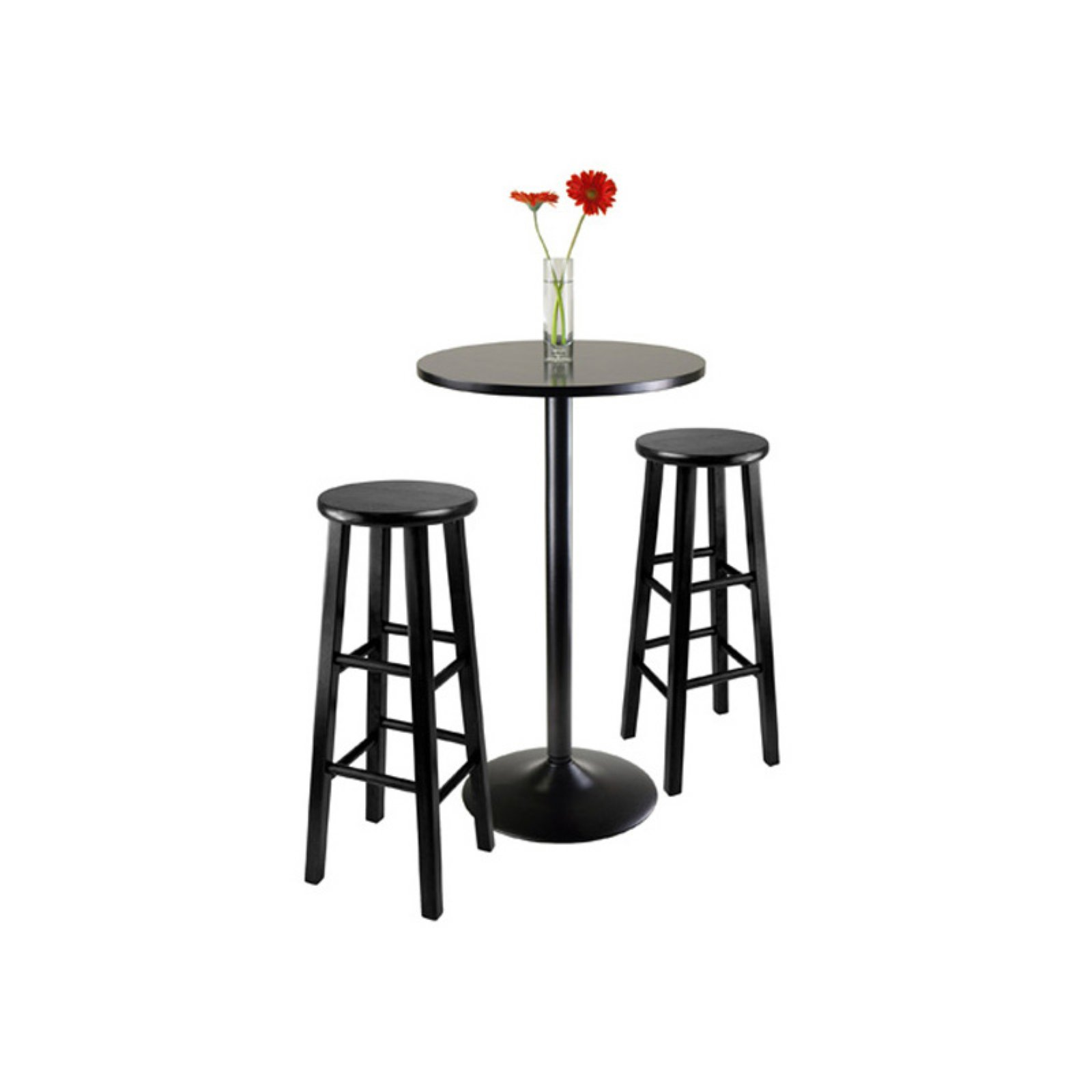 "3pc Round Black Pub Table with two 29"" Wood Stool Square Legs by Winsome Wood"