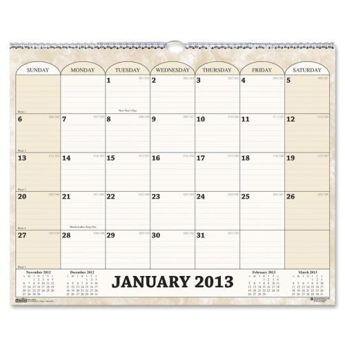 House of Doolittle Recycled Monthly Horizontal Wall Calendar, 14 7/8 x 12, 2017
