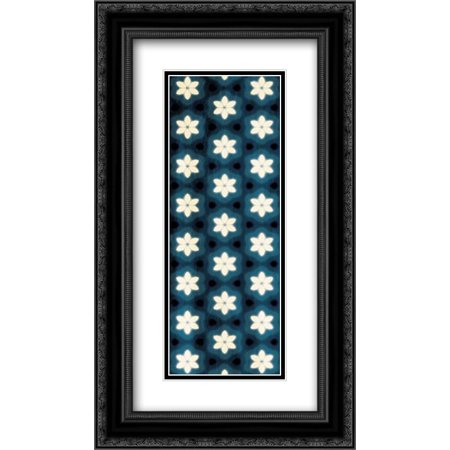 Floral Blue Glow 2x Matted 14x24 Black Ornate Framed Art Print by Grey,