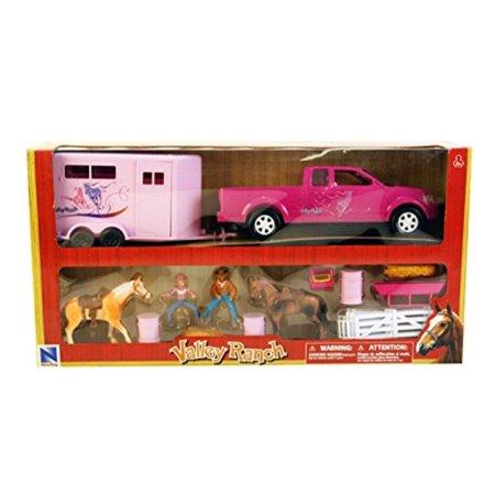 Pink Pick Up Truck & Trailer Horse Set - Horse Stock Trailer