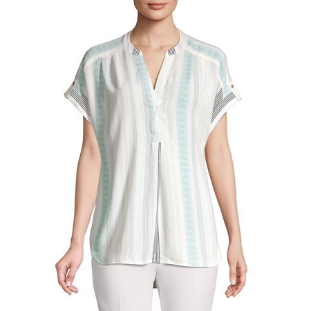Tabbed Stripe Splitneck High-Low Shirt