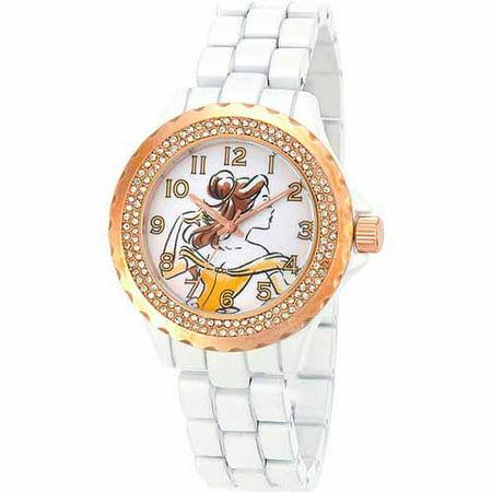 Disney Belle Women's Rose Gold Bezel Enamel Watch, White Bracelet - Belle And Snow White