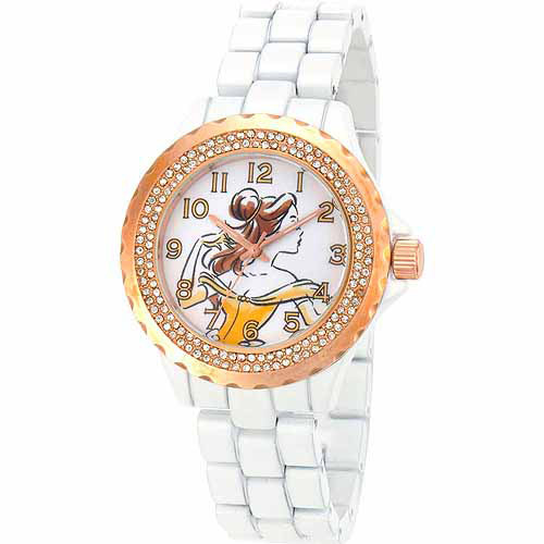 Belle Women's Rose Gold Bezel Enamel Watch, White Bracelet