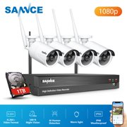 SANNCE 8CH WiFi IP Security Camera System with 4pcs 1080p Outdoor Wireless CCTV Surveillance Cameras AI Human Detection Cameras With 1T Hard Drive