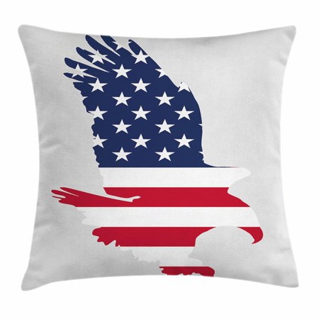 Eagle Throw Pillow Cushion Cover, Stars and Stripes on a Bald Eagle American Way of Life Bird Symbol, Decorative Square Accent Pillow Case, 24 X 24 Inches, Navy Blue Dark Coral Beige, by Ambesonne
