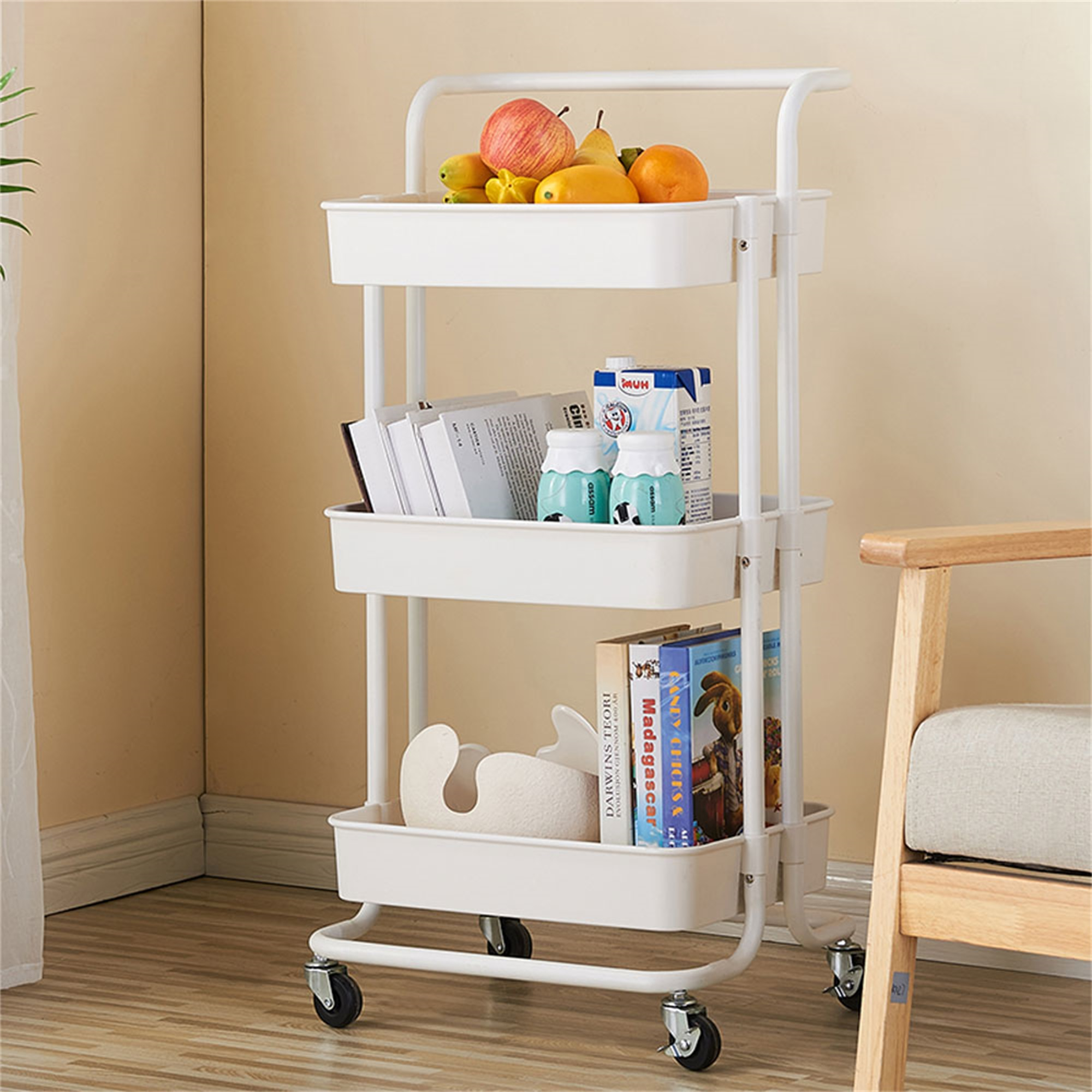 Binpure Utility Cart Three Layer Storage Rack Commodity Shelf With Wheels And Handrail For Kitchen Bathroom White Walmart Com Walmart Com