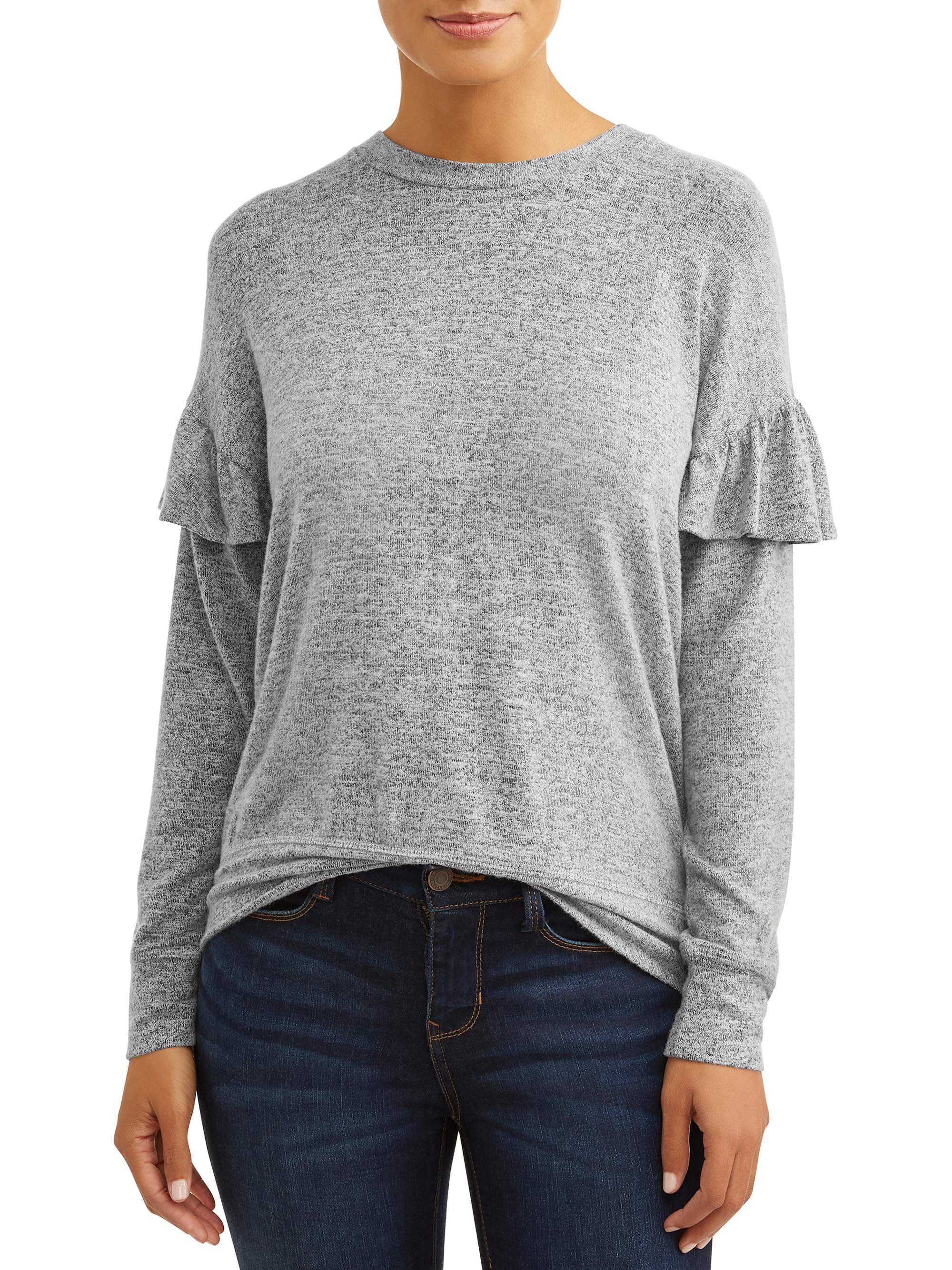 Women's Ruffle Trim Pullover Sweater