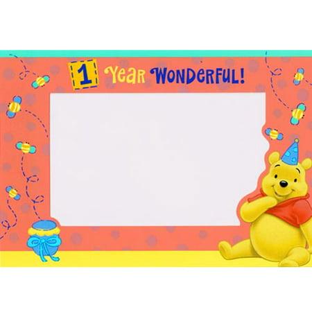 Winnie the Pooh '1 Year Happy' Photoholder Notes w/ Env. (Winnie The Pooh Happy New Year 2014)