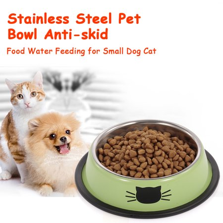 Stainless Steel Pet Bowl Anti-skid Dish Bowl with Cute Cats Painted Food Water Feeding Feeder Bowl for Small Dogs Cats Pet Stainless Steel Mirror Pet Dish