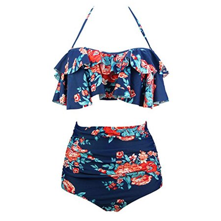 b455f694ad SAYFUT - SAYFUT Women Retro Floral Printing Swimsuit Plus Size High Waist  Slimming Two Piece Bikini Set Swimwear Bathing Suits - Walmart.com