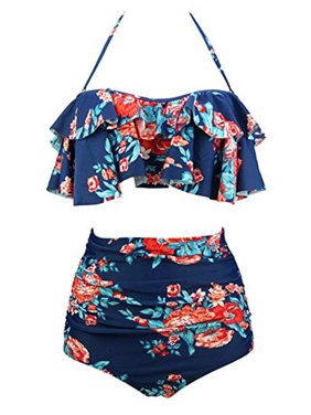 037df93db4798 Product Image SAYFUT Women Retro Floral Printing Swimsuit Plus Size High  Waist Slimming Two Piece Bikini Set Swimwear
