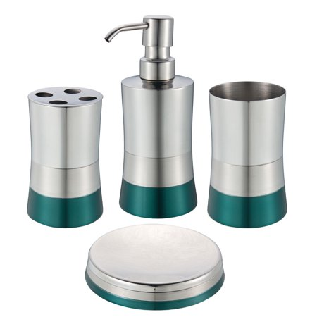 Stainless Steel Bath Set: Soap Dispenser, Toothbrush Holder, Soap Dish, Tumbler (Glossy (Soap Dispenser Set)