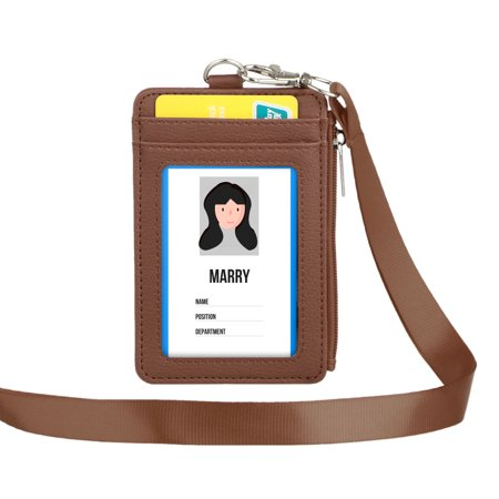 Badge Holders with Zipper, EEEkit PU Leather ID Document Holders Wallet, 1 ID Window, 4 Card Slots, 1 Side Zipper Pocket and 1 piece Neck Lanyard/Strip, Black/ Brown/Blue/Red