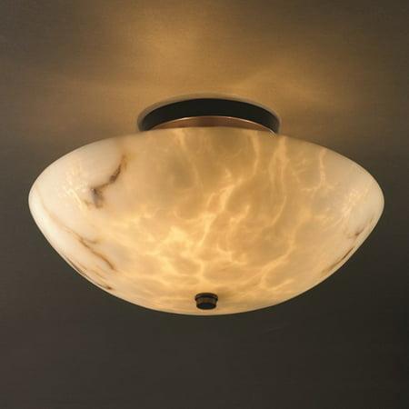 Justice Design  Group LumenAria 2-light Dark Bronze Round Bowl Semi-flush, Faux Alabaster Shade