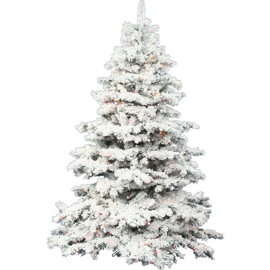 Vickerman Pre-Lit 4.5' Flocked Alaskan Artificial Christmas Tree, LED, Multicolor Lights