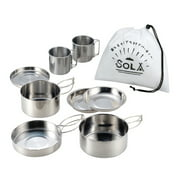 8pcs Outdoor Pan Set Stainless Steel Stacking Pots Hiking Pot Camping Cookware Non-stick Picnic Cooking Bowl Pot Kit