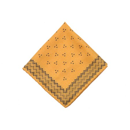 Brunello Cucinelli Mens Yellow Black Dotted Pocket Square