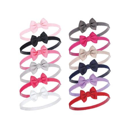 Girl Head - Petite Bow Headbands 12Pk (Baby Girls)