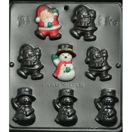 2116 Santa & Snowman Pieces Chocolate Candy Mold