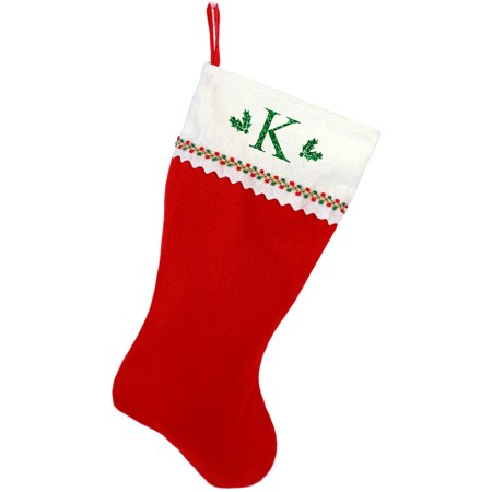 Monogrammed Christmas Stocking, Red and White Felt with Serif Glitter Initial - Monogrammed Stocking