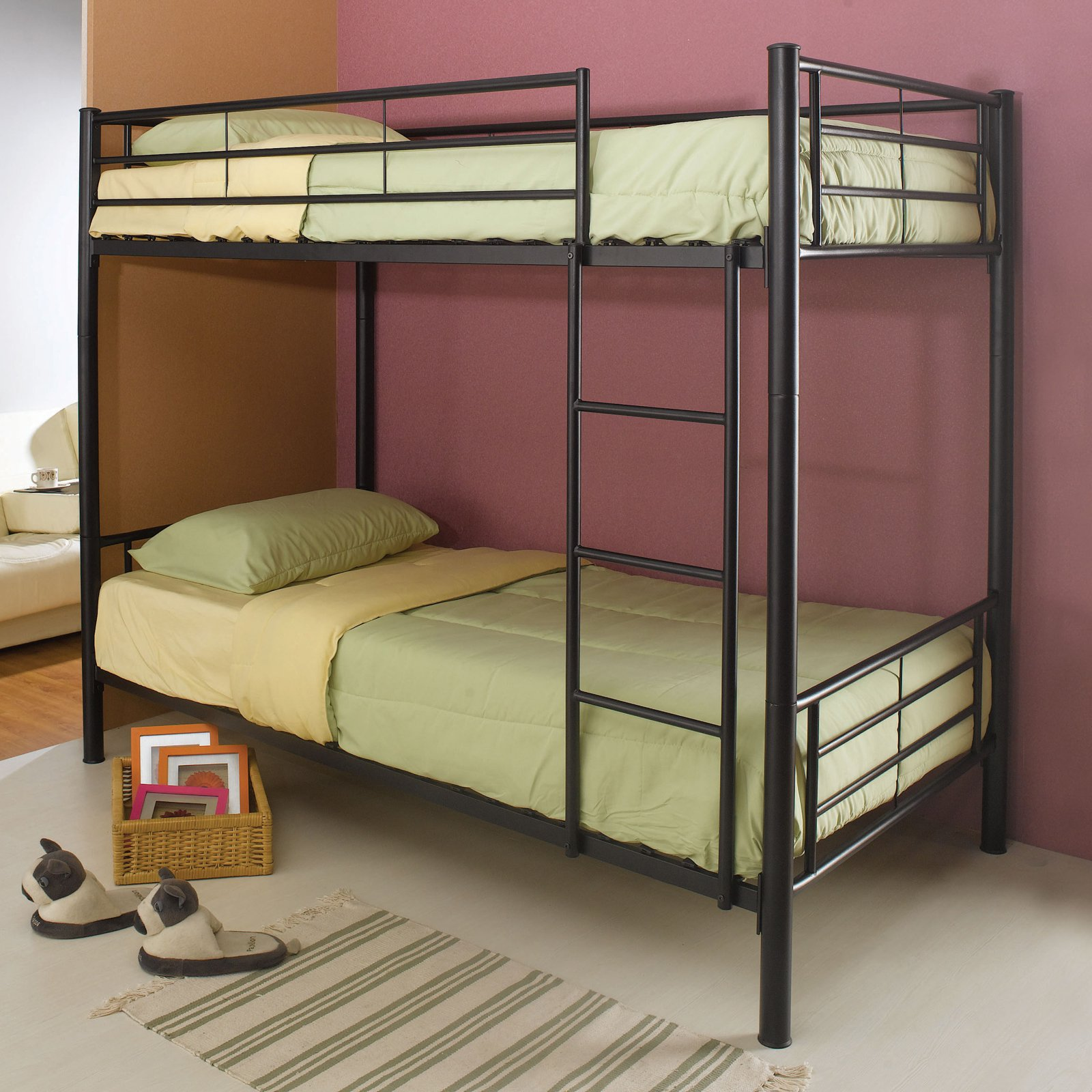 Coaster Twin Over Twin Metal Bunk Bed, Black by Coaster Company