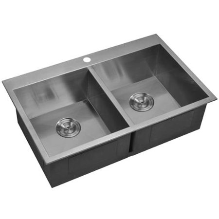 33x22 Stainless Steel Sink : ... 33x22-inch 50/50 Double Bowl Stainless Steel Drop In Kitchen Sink Set