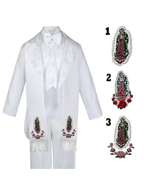 6pc Infant Toddler & Boy Baptism Easter Formal White Tuxedo Suit  Stole Sm to 20