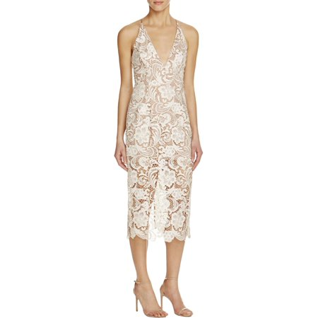 Dress The Population Womens Marie Lace Overlay Knee-Length Casual Dress Ivory L](Satin Dress With Lace Overlay)