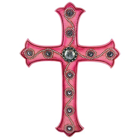 Pine Ridge Pink Rustic Western Style Christian Wall Cross Decor - Religious Centerpiece Decorative Easter Resin Cross - Jesus Cross Baptism Gift Ideas - Mustache Centerpiece Ideas