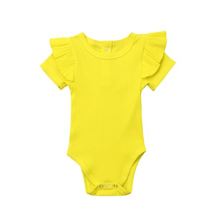 Baby Cotton Clothes Solid Color Flying Sleeves Jumpsuit Short-Sleeved Jumpsuit