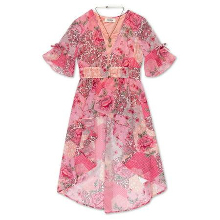 Floral Print Kimono and Tank, 2-Piece Top Set with Necklace (Big Girls)](Kimono Child)