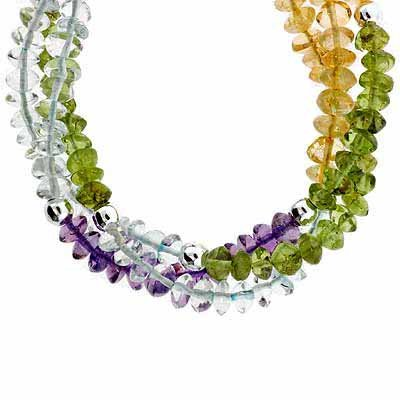 Genuine Amethyst, Peridot, Citrine, and Clear Crystal Chips (Peridot Amethyst Necklace)