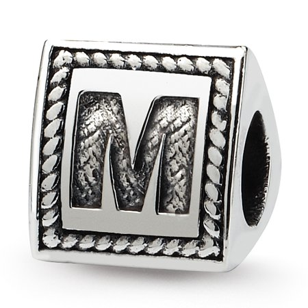 925 Sterling Silver Charm For Bracelet Letter M Triangle Block Bead Alphabet Fine Jewelry For Women Valentines Day Gifts For Her - image 8 de 8