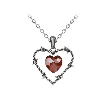 Imprisoned Love Barbed Wire Heart Pendant and Necklace