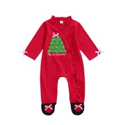 Puloru Babies Footed Romper, Christmas Tree Letters Print Jumpsuit