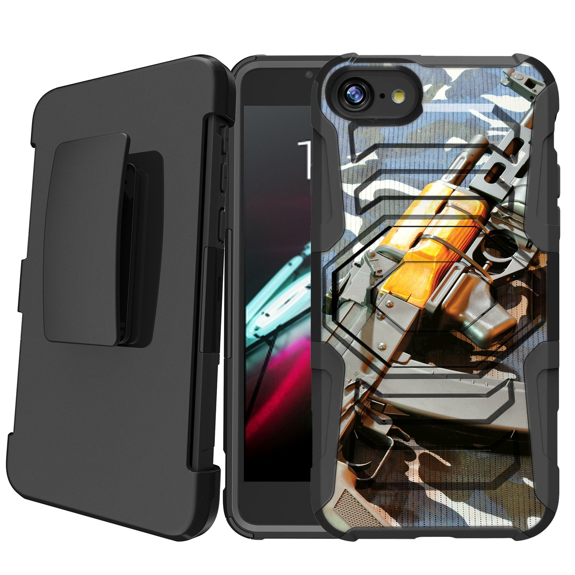 Apple iPhone 8 | iPhone 8 2017 Holster Case [Case for Boys][Cool Design Series]Built-In Kickstand + Bonus Holster - Military Gun