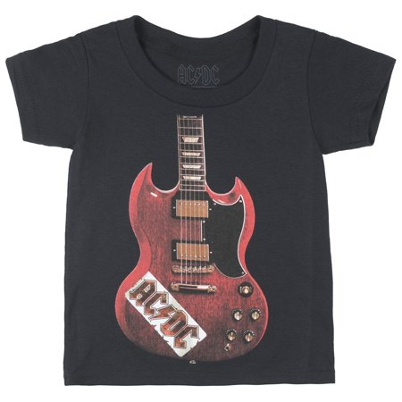 ACDC Gibson Guitar Regular Fit T-Shirt Band Tee Kids Top Hard Rock Toddler Black
