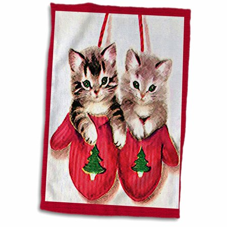 3dRose Two Cartoon Kittens in Red Mittens with Pine Tree Decorations - Towel, 15 by 22-inch