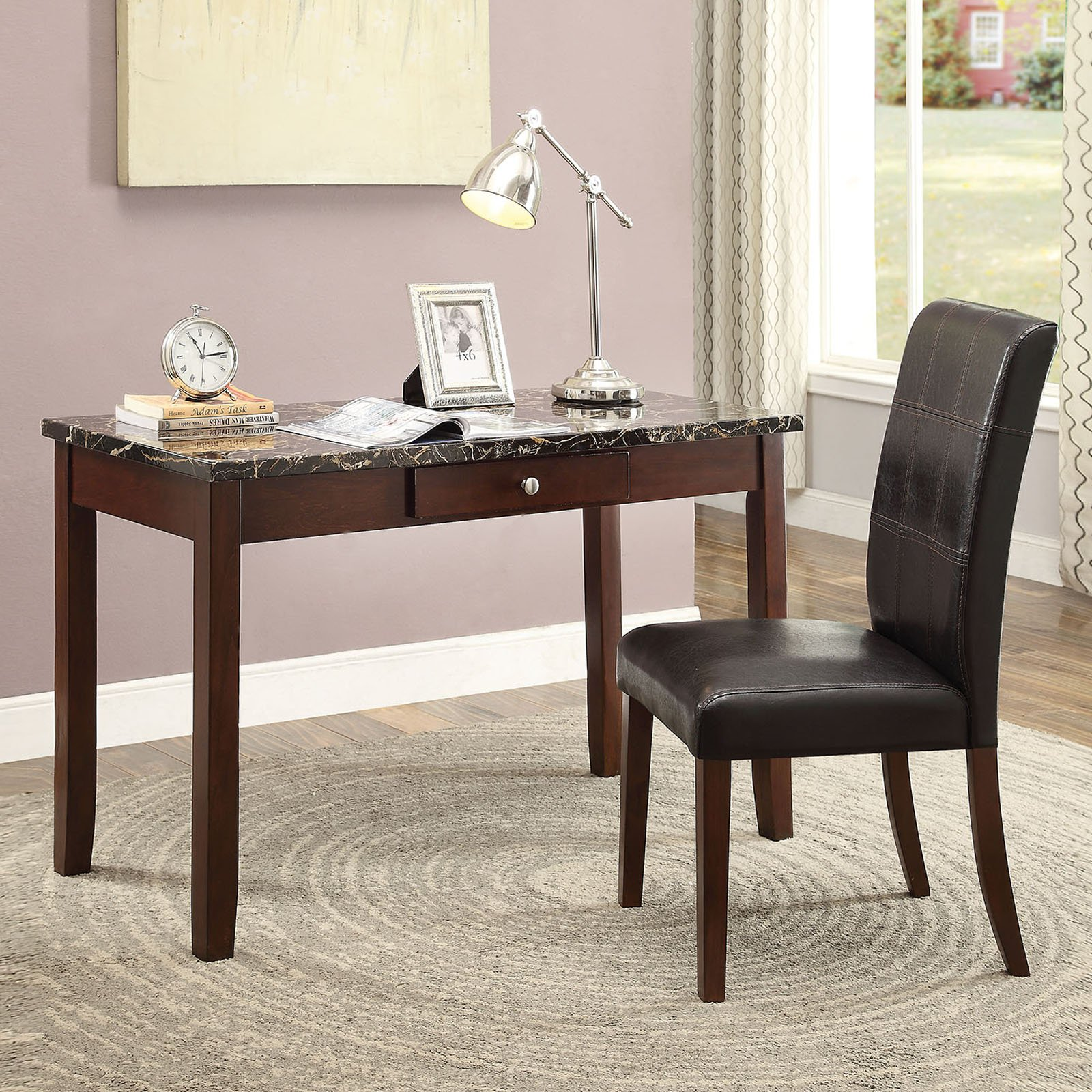Sydney 2-Piece Pack Desk and Chair, Black Faux Marble and Dark Walnut