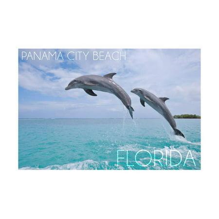 Panama City Beach, Florida - Jumping Dolphins Print Wall Art By Lantern