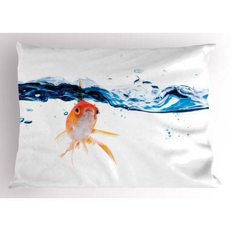 Fish Pillow Sham Goldfish Swimming Under Surface of Clear Water Fishbowl Liquid Motion Abstract Style, Decorative Standard Size Printed Pillowcase, 26 X 20 Inches, Blue Orange, by Ambesonne