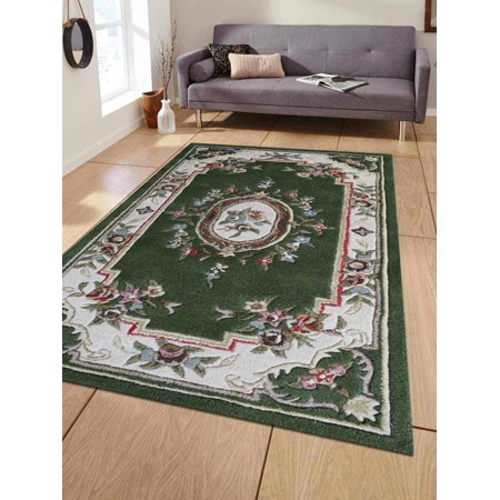 Rugsotic Carpets Hand Tufted Wool 3'x5' Area Rug Oriental Green White K04042 - A1 Oriental