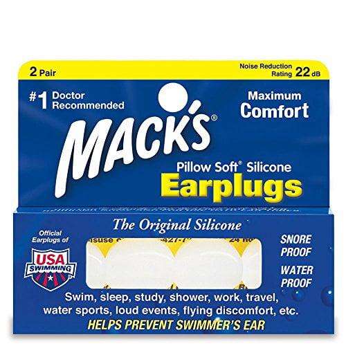 Mack's Silicone Earplugs - White - 2 pair