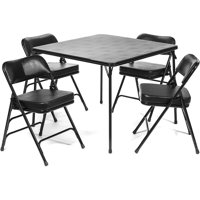 5pc. XL Series Folding Card Table and 2 in. Ultra Padded Chair Set, Commercial Quality, Black